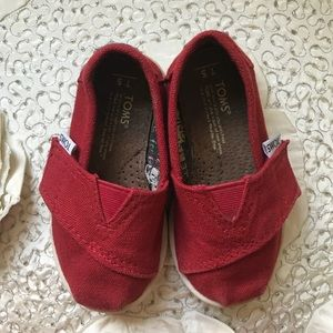 TOMS Red Classic Toddler Baby Slip On Canvas Shoe